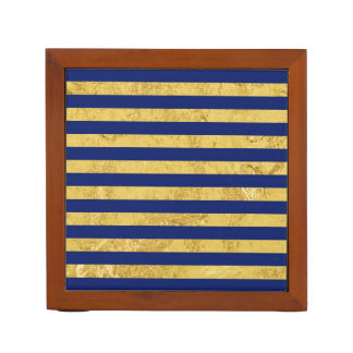 Elegant Gold Foil and Blue Stripe Pattern Desk Organizer