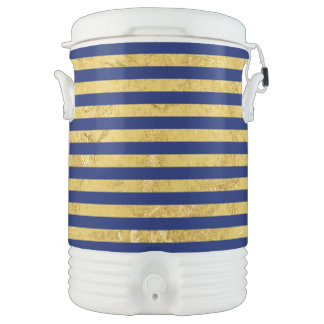 Elegant Gold Foil and Blue Stripe Pattern Drinks Cooler