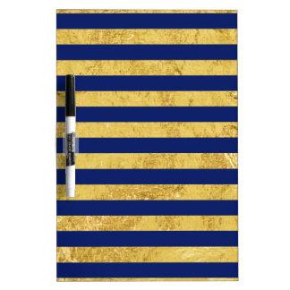 Elegant Gold Foil and Blue Stripe Pattern Dry Erase Board