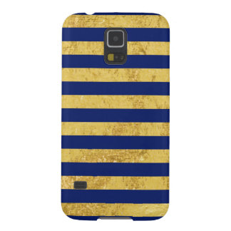Elegant Gold Foil and Blue Stripe Pattern Galaxy S5 Case