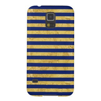 Elegant Gold Foil and Blue Stripe Pattern Galaxy S5 Covers
