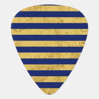 Elegant Gold Foil and Blue Stripe Pattern Guitar Pick