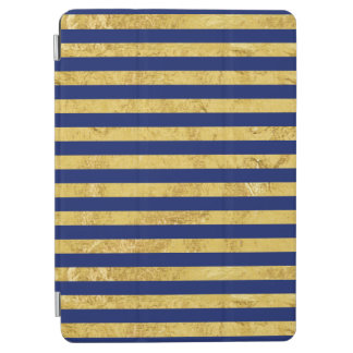 Elegant Gold Foil and Blue Stripe Pattern iPad Air Cover