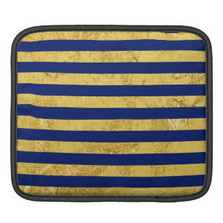 Elegant Gold Foil and Blue Stripe Pattern iPad Sleeve