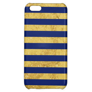 Elegant Gold Foil and Blue Stripe Pattern iPhone 5C Case