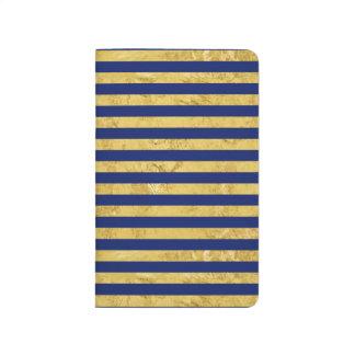 Elegant Gold Foil and Blue Stripe Pattern Journal