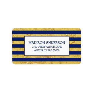 Elegant Gold Foil and Blue Stripe Pattern Label