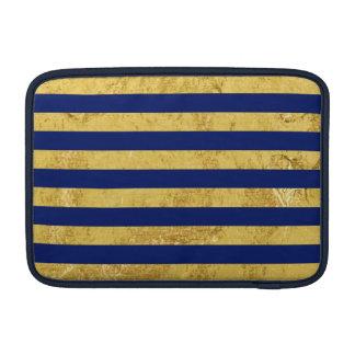 Elegant Gold Foil and Blue Stripe Pattern MacBook Air Sleeve