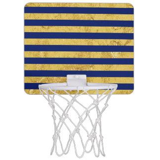 Elegant Gold Foil and Blue Stripe Pattern Mini Basketball Hoop