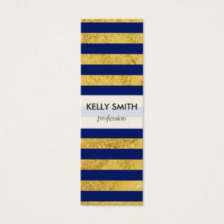 Elegant Gold Foil and Blue Stripe Pattern Mini Business Card