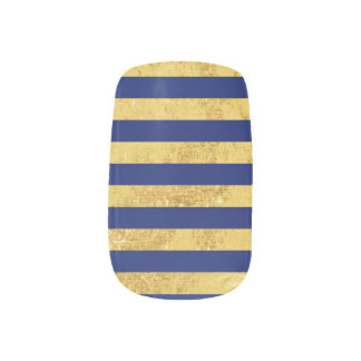Elegant Gold Foil and Blue Stripe Pattern Minx Nail Art