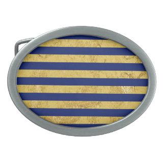 Elegant Gold Foil and Blue Stripe Pattern Oval Belt Buckle