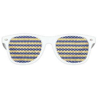 Elegant Gold Foil and Blue Stripe Pattern Party Sunglasses