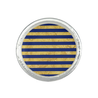 Elegant Gold Foil and Blue Stripe Pattern Photo Ring