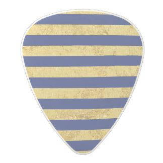 Elegant Gold Foil and Blue Stripe Pattern Polycarbonate Guitar Pick