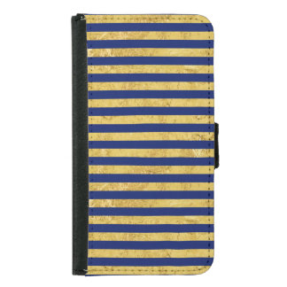 Elegant Gold Foil and Blue Stripe Pattern Samsung Galaxy S5 Wallet Case