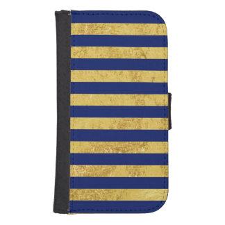 Elegant Gold Foil and Blue Stripe Pattern Samsung S4 Wallet Case