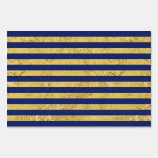 Elegant Gold Foil and Blue Stripe Pattern Sign