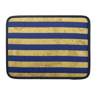 Elegant Gold Foil and Blue Stripe Pattern Sleeve For MacBook Pro