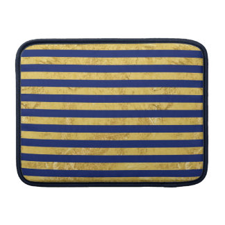 Elegant Gold Foil and Blue Stripe Pattern Sleeves For MacBook Air