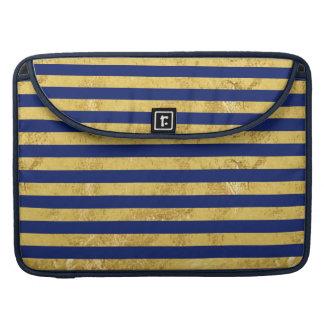 Elegant Gold Foil and Blue Stripe Pattern Sleeves For MacBook Pro