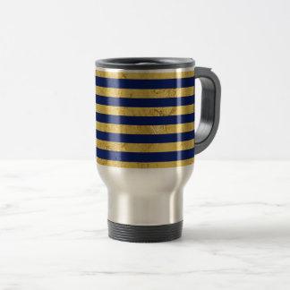 Elegant Gold Foil and Blue Stripe Pattern Travel Mug