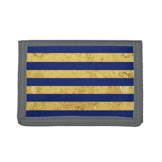 Elegant Gold Foil and Blue Stripe Pattern Trifold Wallets