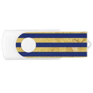 Elegant Gold Foil and Blue Stripe Pattern USB Flash Drive