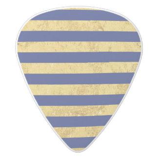 Elegant Gold Foil and Blue Stripe Pattern White Delrin Guitar Pick