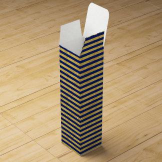 Elegant Gold Foil and Blue Stripe Pattern Wine Bottle Box