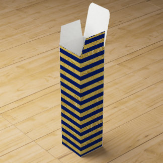 Elegant Gold Foil and Blue Stripe Pattern Wine Gift Box