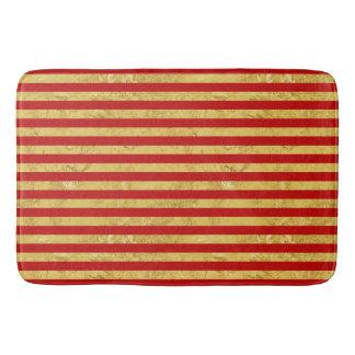 Elegant Gold Foil and Red Stripe Pattern Bath Mat