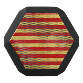 Elegant Gold Foil and Red Stripe Pattern Black Bluetooth Speaker