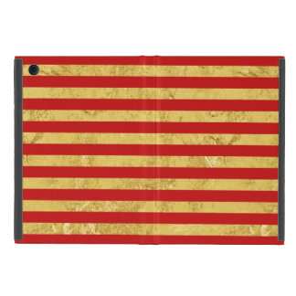 Elegant Gold Foil and Red Stripe Pattern Cover For iPad Mini