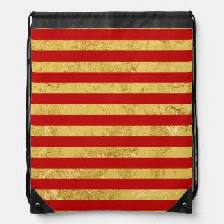 Elegant Gold Foil and Red Stripe Pattern Drawstring Bag