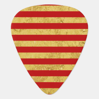 Elegant Gold Foil and Red Stripe Pattern Guitar Pick