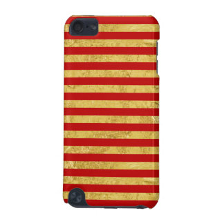 Elegant Gold Foil and Red Stripe Pattern iPod Touch (5th Generation) Cases