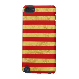 Elegant Gold Foil and Red Stripe Pattern iPod Touch (5th Generation) Covers