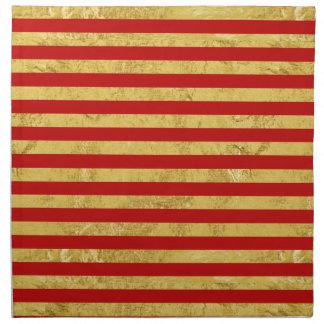 Elegant Gold Foil and Red Stripe Pattern Napkin