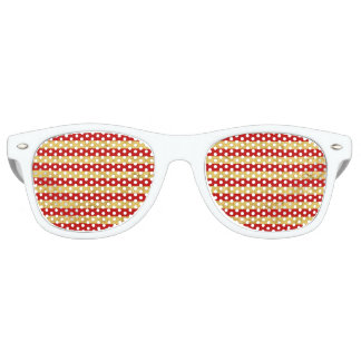 Elegant Gold Foil and Red Stripe Pattern Party Sunglasses