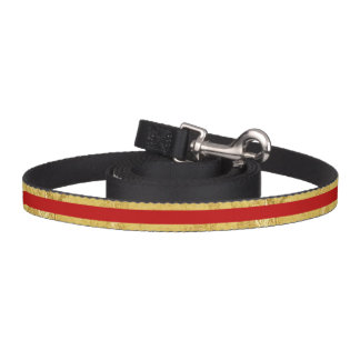 Elegant Gold Foil and Red Stripe Pattern Pet Lead