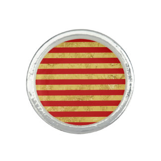 Elegant Gold Foil and Red Stripe Pattern Photo Ring
