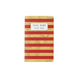 Elegant Gold Foil and Red Stripe Pattern Pocket Moleskine Notebook