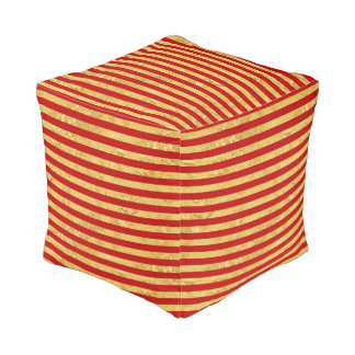 Elegant Gold Foil and Red Stripe Pattern Pouf