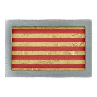 Elegant Gold Foil and Red Stripe Pattern Rectangular Belt Buckles