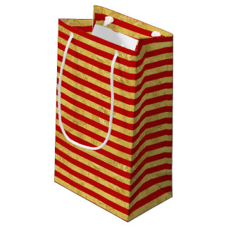 Elegant Gold Foil and Red Stripe Pattern Small Gift Bag