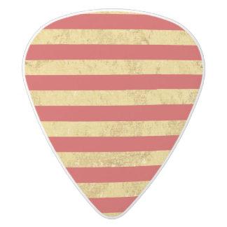 Elegant Gold Foil and Red Stripe Pattern White Delrin Guitar Pick