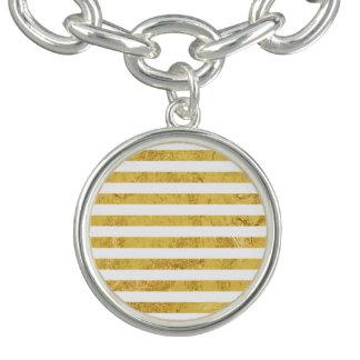 Elegant Gold Foil and White Stripe Pattern Bracelets