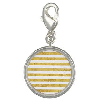 Elegant Gold Foil and White Stripe Pattern Charm