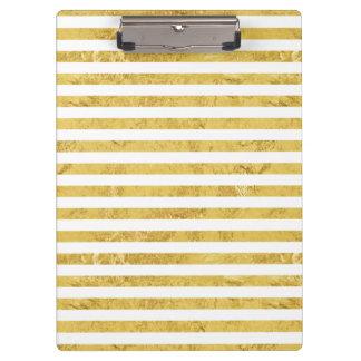 Elegant Gold Foil and White Stripe Pattern Clipboard